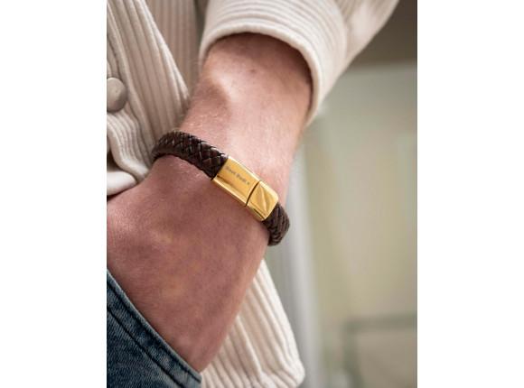 Graveerbare leren mannen armband bruin goudkleurig