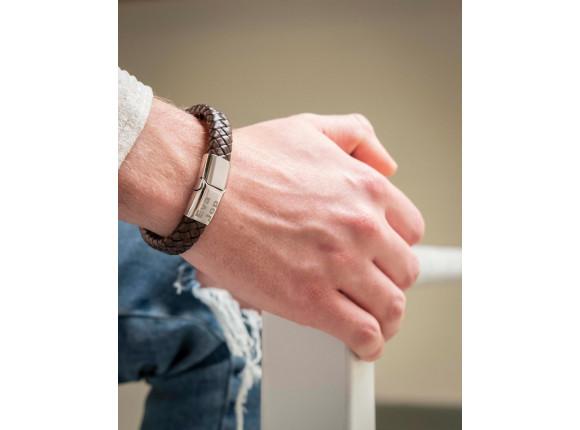 Graveerbare leren mannen armband bruin