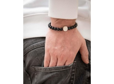 Heren armband graveren zwart marmer