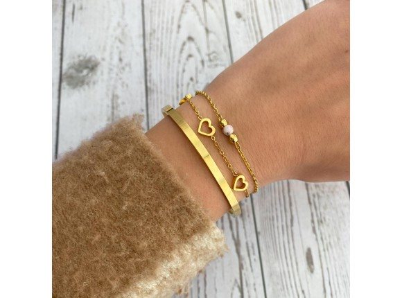 Armband Met Roze Steentje Kleur Goud