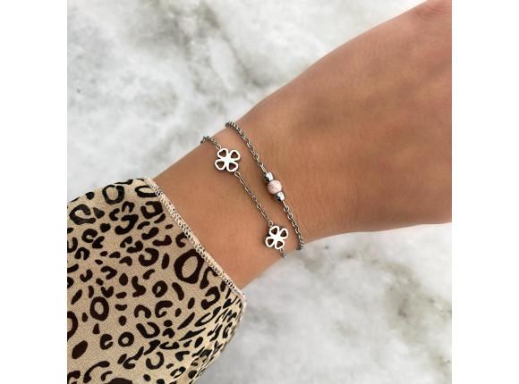 Armband met roze steentje kleur zilver