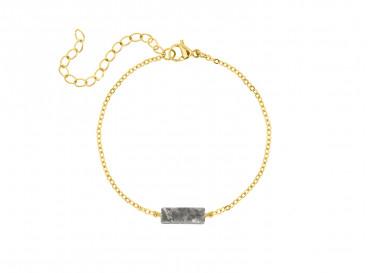 Armband grijs steentje kleur goud