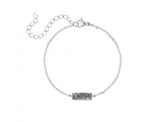 Armband grijs steentje kleur zilver