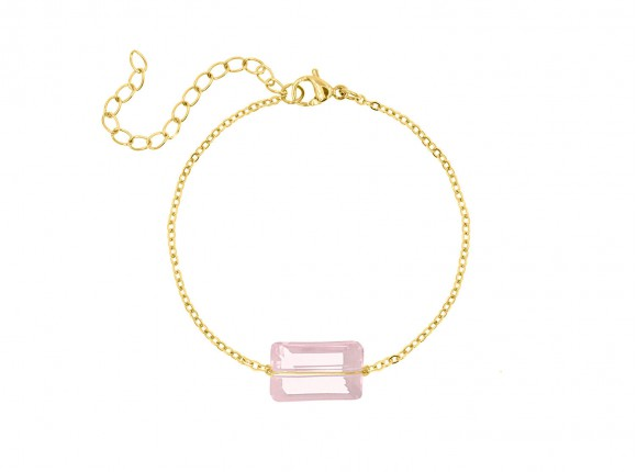 Armband met roze steen goud kleurig