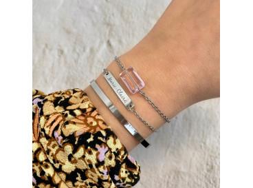 Armband met roze steen