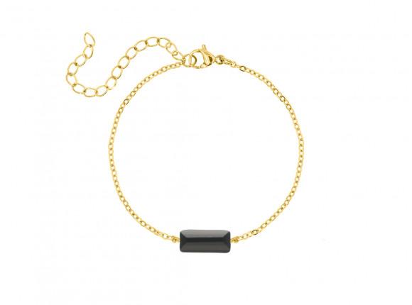 Armband zwart steentje kleur goud