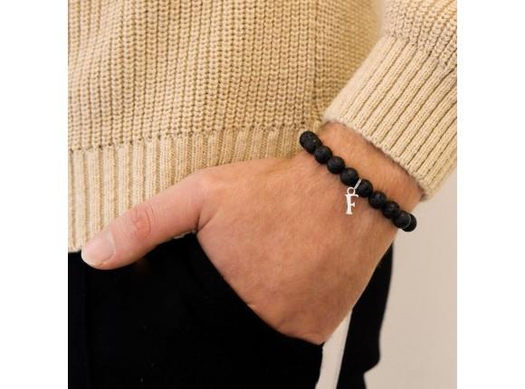 Kralen mannen armband met letter