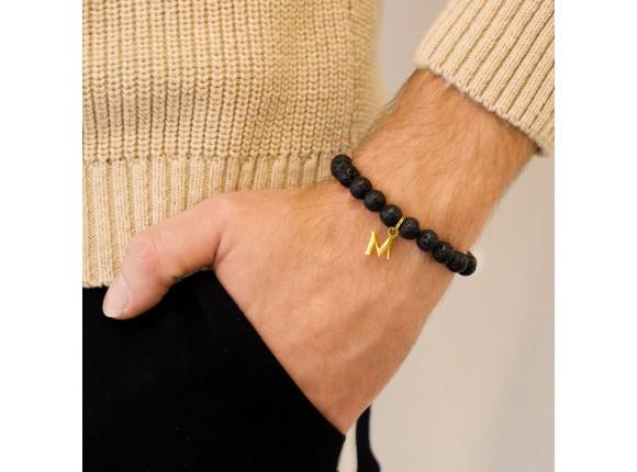 Kralen mannen armband met letter goud kleurig