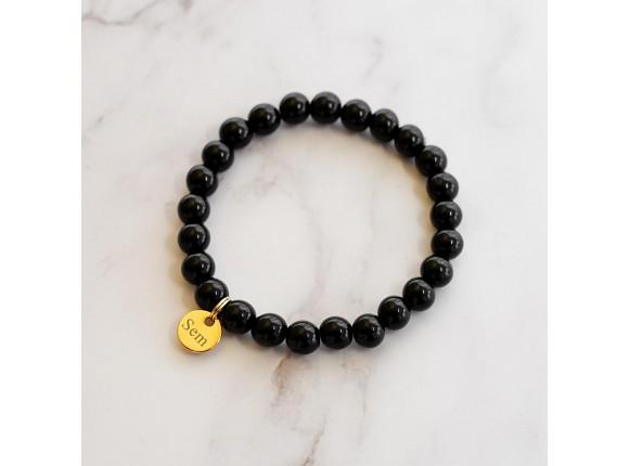 Heren Armband Met Naam Zwart Goud Kleurig