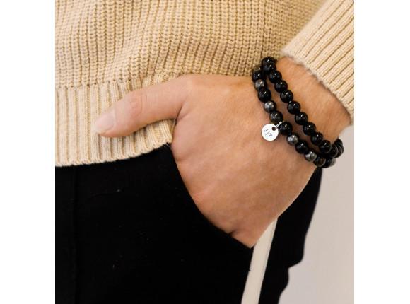 Kralen armband heren personaliseren kleur zilver