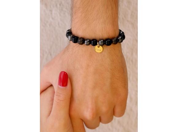 Kralen armband heren personaliseren kleur goud