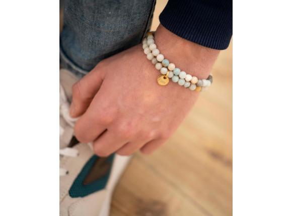 Mannen kralen armband met naam goud kleurig