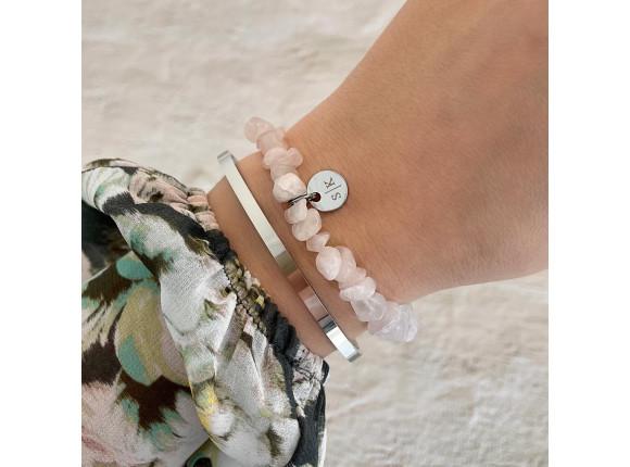 Armband roze steentjes met naam