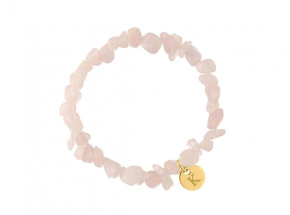 Armband roze steentjes met naam goud kleurig
