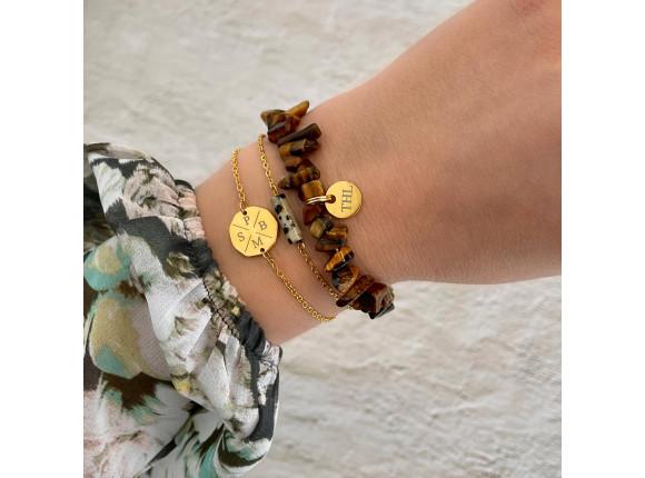 Naam armband bruin kleur goud