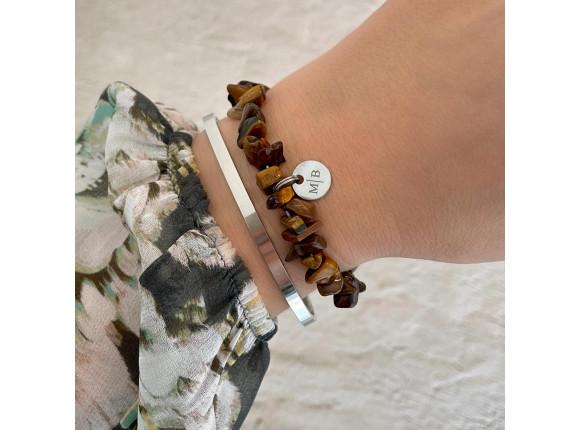 Naam armband bruin kleur zilver