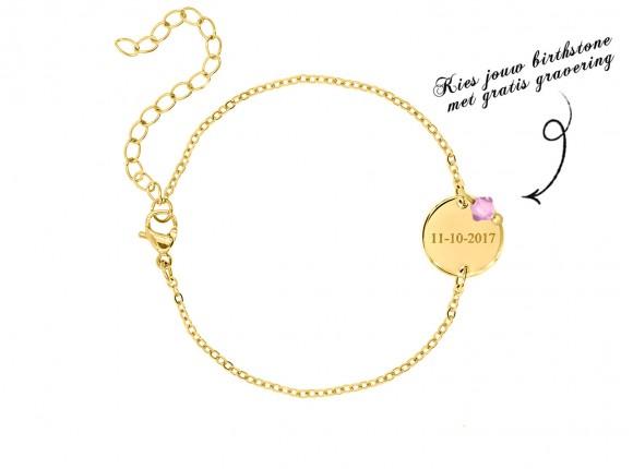 Graveerbare armband swarovski birthstone goud kleurig
