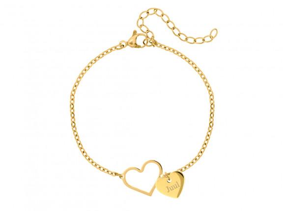 Hartjes armband met naam goud kleurig