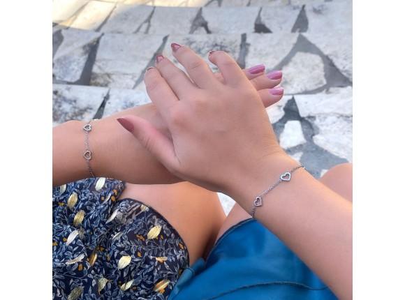 Moeder & dochter armband hartjes zilver