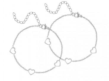 Zilveren moeder en dochter armbandjes met hartjes