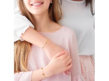 Gouden moeder en dochter armbandjes met klavertjes