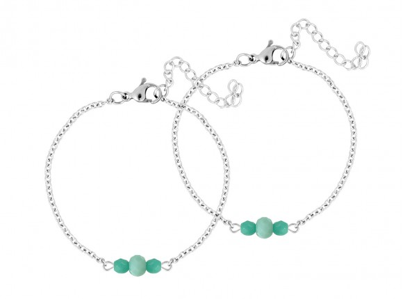 mother and daughter bracelet with mint coloured stones