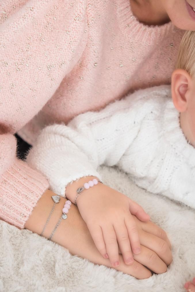 Roze moeder & dochter armbandjes gecombineerd