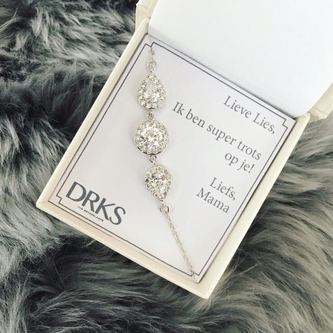 Luxe zilveren armband in sieradendoosje met persoonlijke tekst
