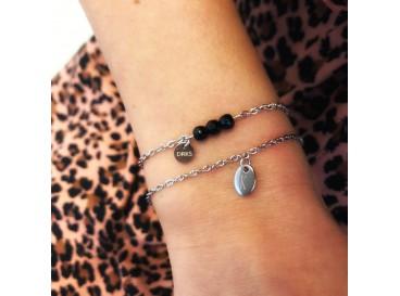 Klassieke en elegante armband met graveerbare ovale hanger van stainless steel