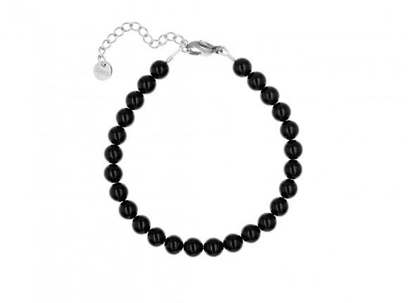 Elegante armband met zwarte faux parels voor elke gelegenheid