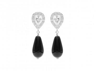 Faux Pearl Earrings Black