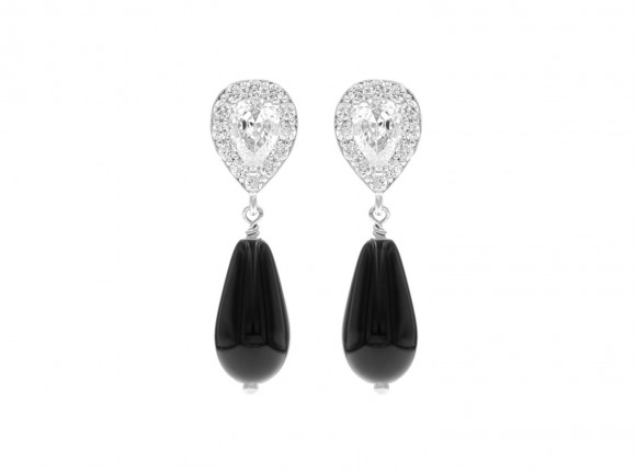 Faux Pearl Earrings Black