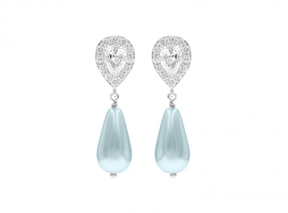 Faux Pearl Earrings Lightblue