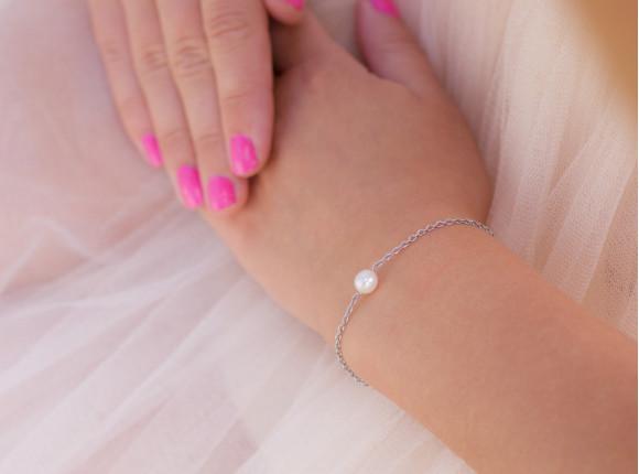 Minimalistische Parel Armband Zilver