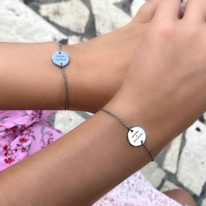 Zilveren armband met gravering voor moeder en dochter