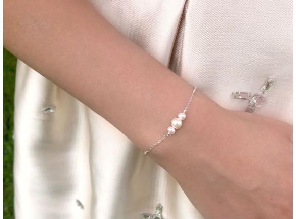 Parel armbandje zilver Jara