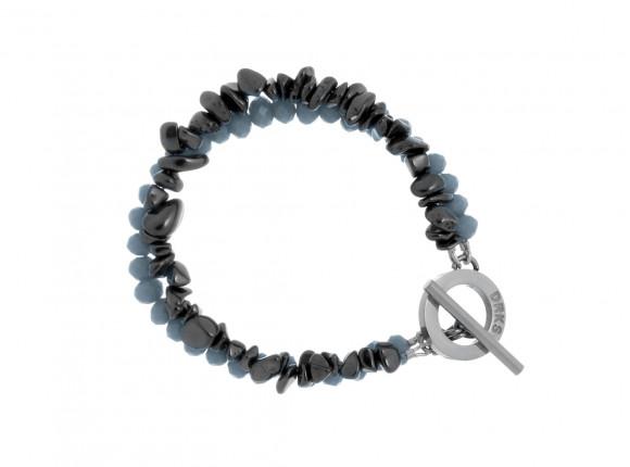 Prachtige hematiet steen armband met grijze facetgeslepen glaskralen