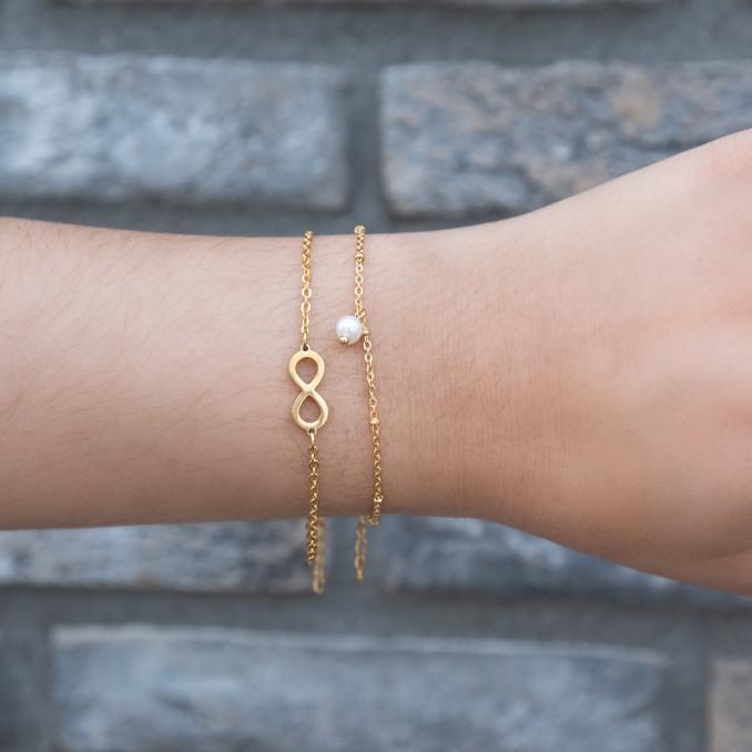 Parel armband met met stainless steel armbandje