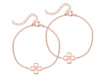 rose gouden armband met clover voor moeder en dochter