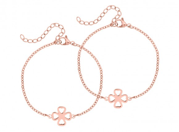 rose gold bracelet with clover for mother and daughter