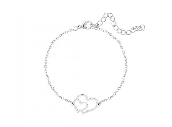 Zilveren armband met dubbel hart