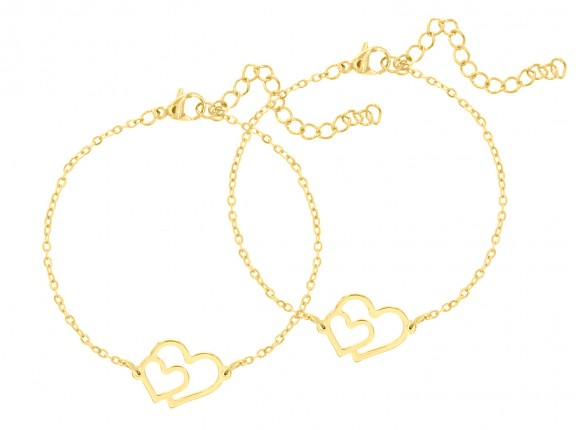 Moeder & Dochter Dubbel Hart Armband Goud