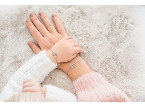 Moeder en dochter armbandjes dubbel hart zilver
