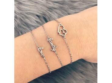 Zilveren stalen love armband