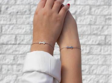 Moeder en dochter family armband zilver