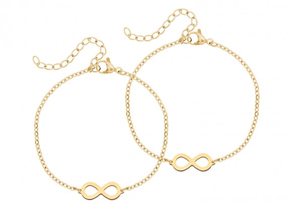 Mom & Daughter Steel Infinity Bracelet Gold
