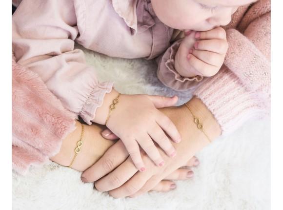 Moeder & Dochter Armband Steel Infinity Goud Kleurig
