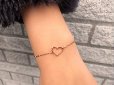 Armband met hartje in het rose goud