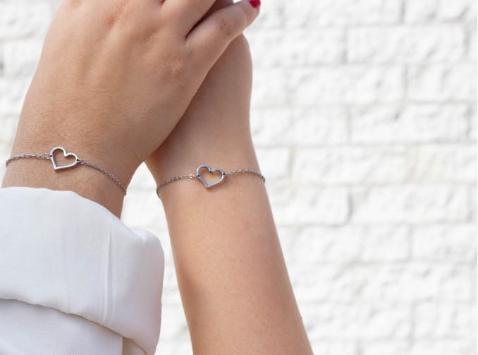 Zilveren moeder & dochter armbandjes