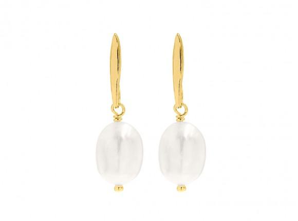Gouden druppel parel oorbellen